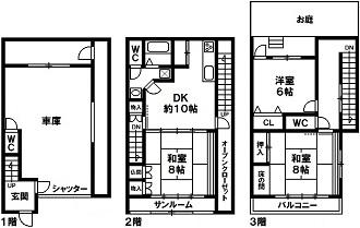 神戸市須磨区白川台7丁目 中古テラスハウスの図面