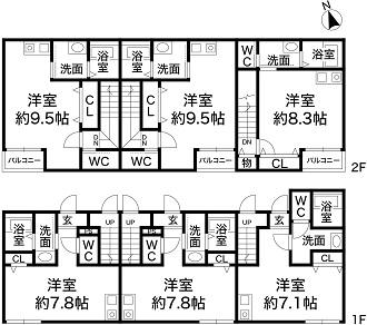 神戸市須磨区白川台6丁目 新築収益ハイツの図面
