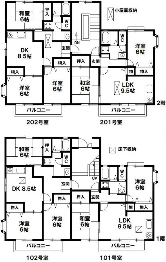 神戸市須磨区白川台5丁目 収益アパートの図面