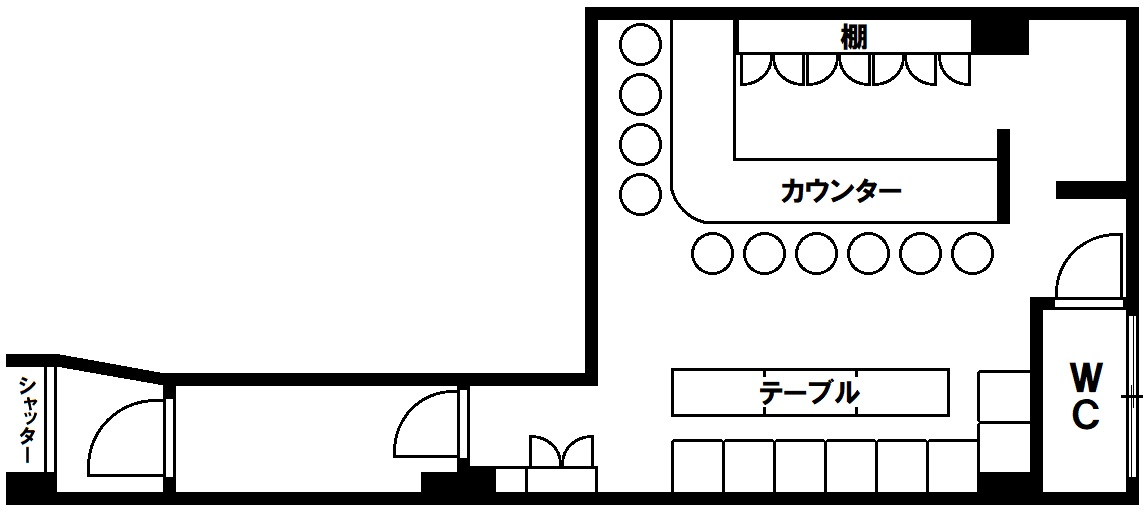 貸店舗(居抜き) 本郷ビル 神戸市須磨区白川台2丁目の図面