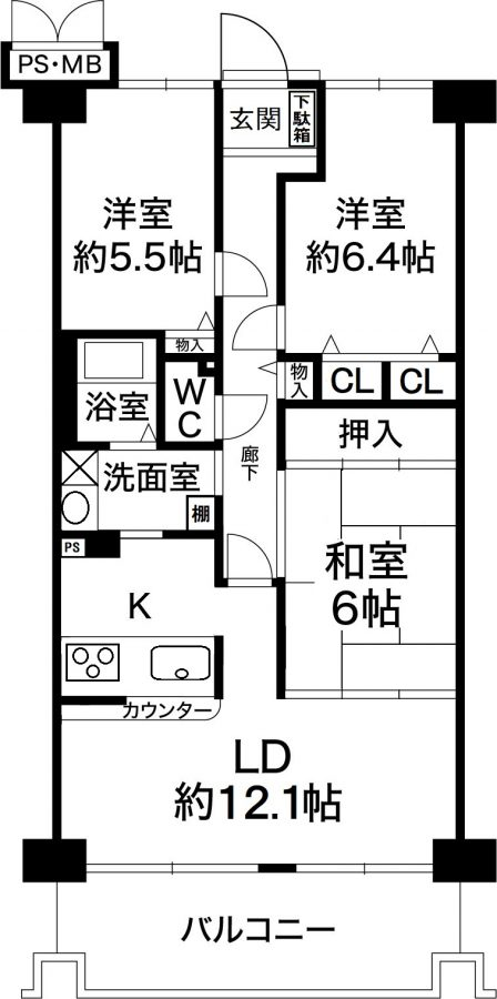 ジャルダン宝塚中山台弐番館B棟 12階部分の図面